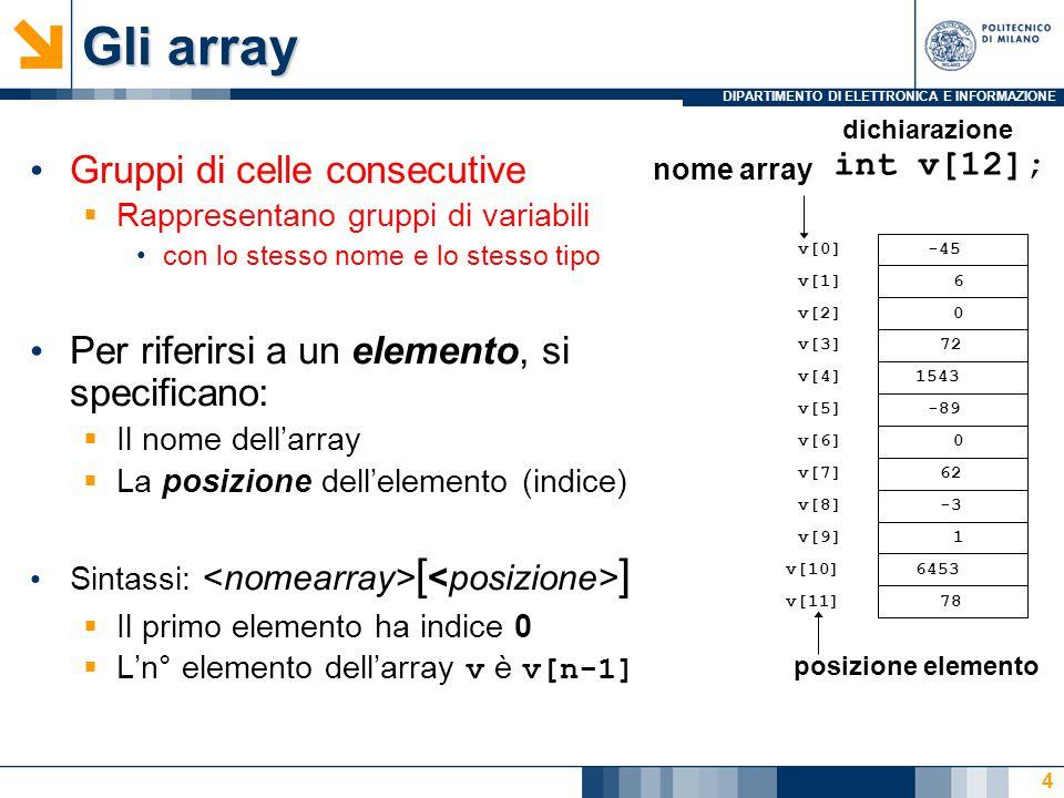 DIPARTIMENTO DI ELETTRONICA E INFORMAZIONE 4 Gruppi di celle consecutive  Rappresentano gruppi di variabili con lo stesso nome e lo stesso tipo Per r