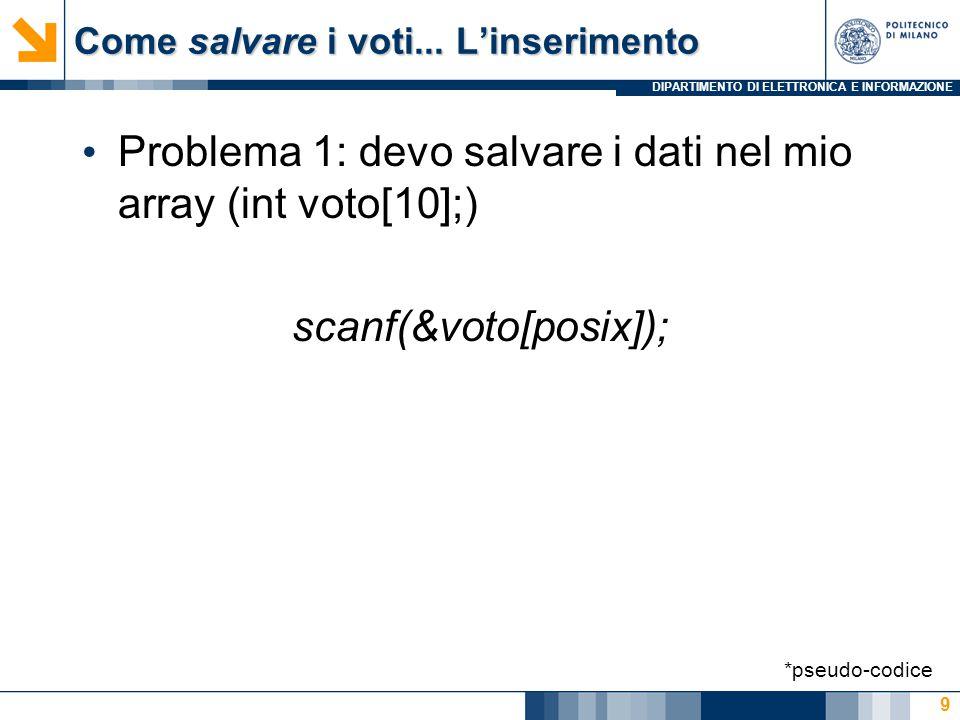 DIPARTIMENTO DI ELETTRONICA E INFORMAZIONE Come salvare i voti... L'inserimento Problema 1: devo salvare i dati nel mio array (int voto[10];) scanf(&v