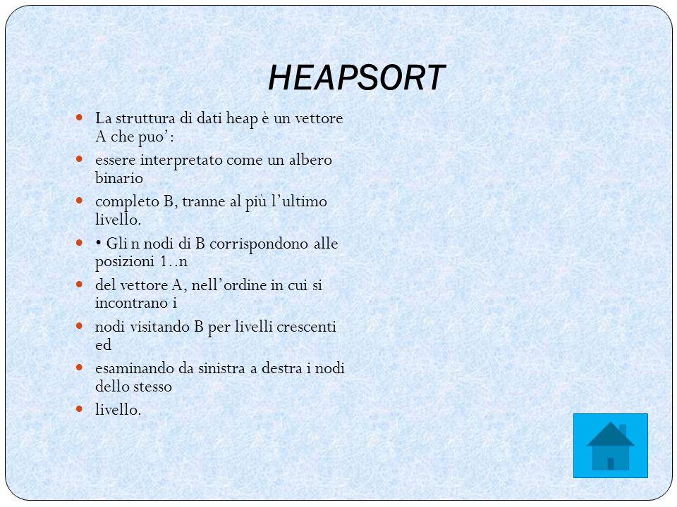 HEAPSORT La struttura di dati heap è un vettore A che puo': essere interpretato come un albero binario completo B, tranne al più l'ultimo livello.