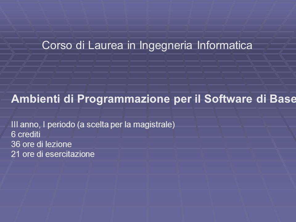 Corso di Laurea in Ingegneria Informatica Ambienti di Programmazione per il Software di Base III anno, I periodo (a scelta per la magistrale) 6 crediti 36 ore di lezione 21 ore di esercitazione