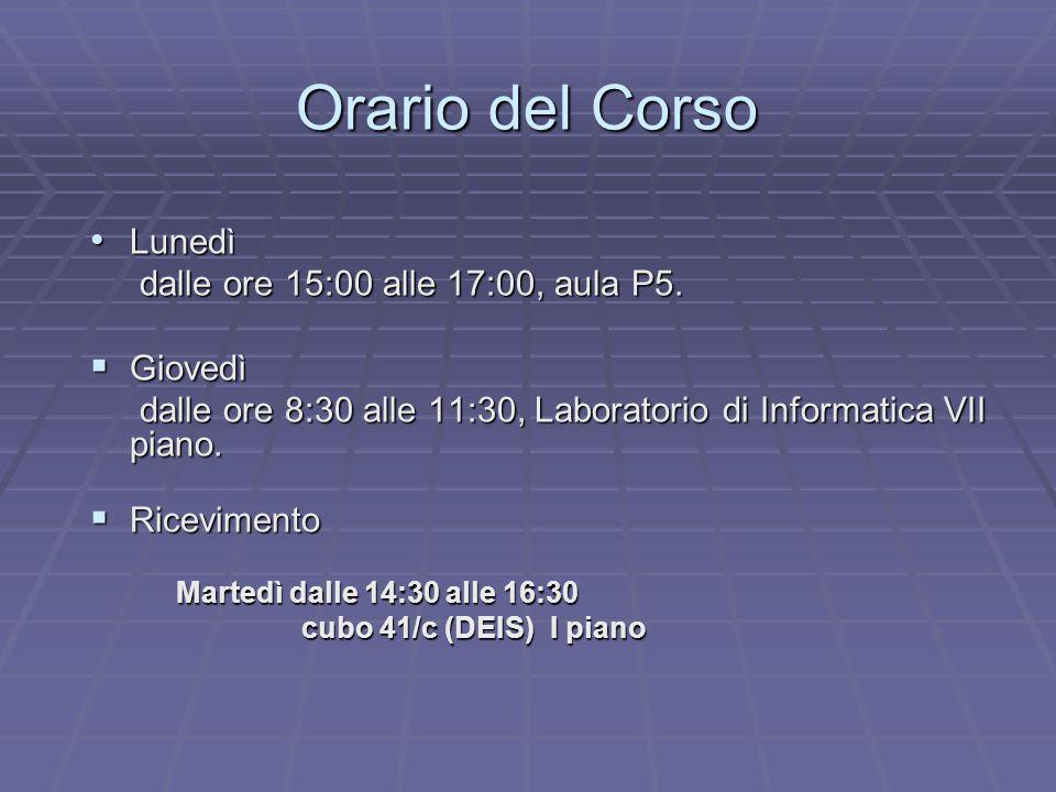 Orario del Corso Lunedì Lunedì dalle ore 15:00 alle 17:00, aula P5.