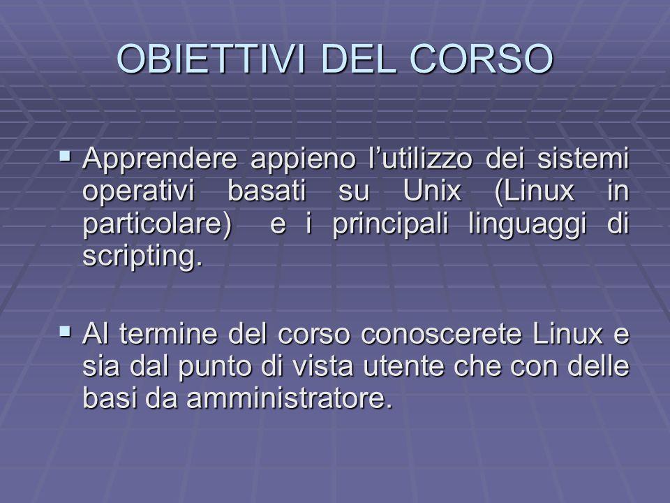 Materiale Didattico  Libri di Testo  Linux Documentation Project, http://sunsite.unc.edu/linux  Guida completa Linux - Peterson, MC Graw Hill.