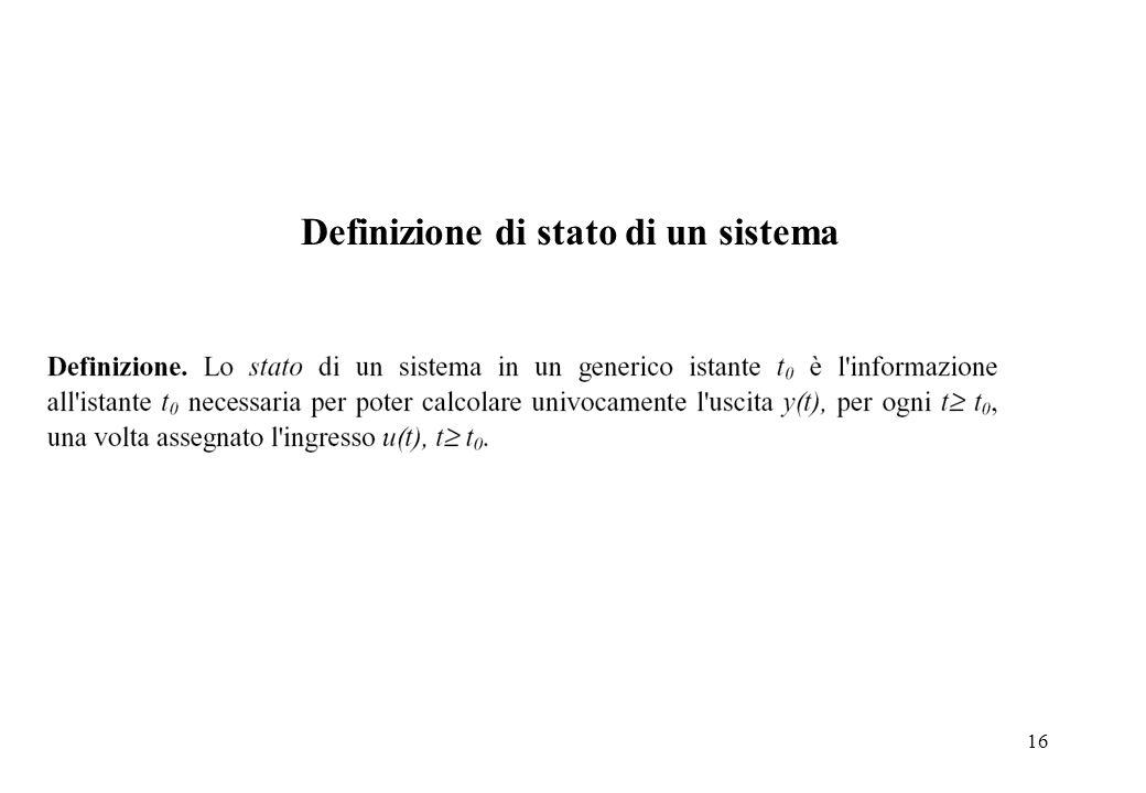 16 Definizione di stato di un sistema