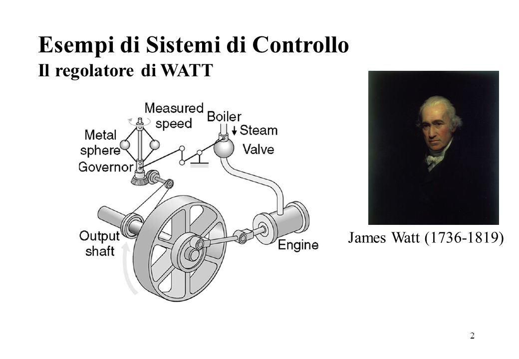 2 Esempi di Sistemi di Controllo Il regolatore di WATT James Watt (1736-1819)