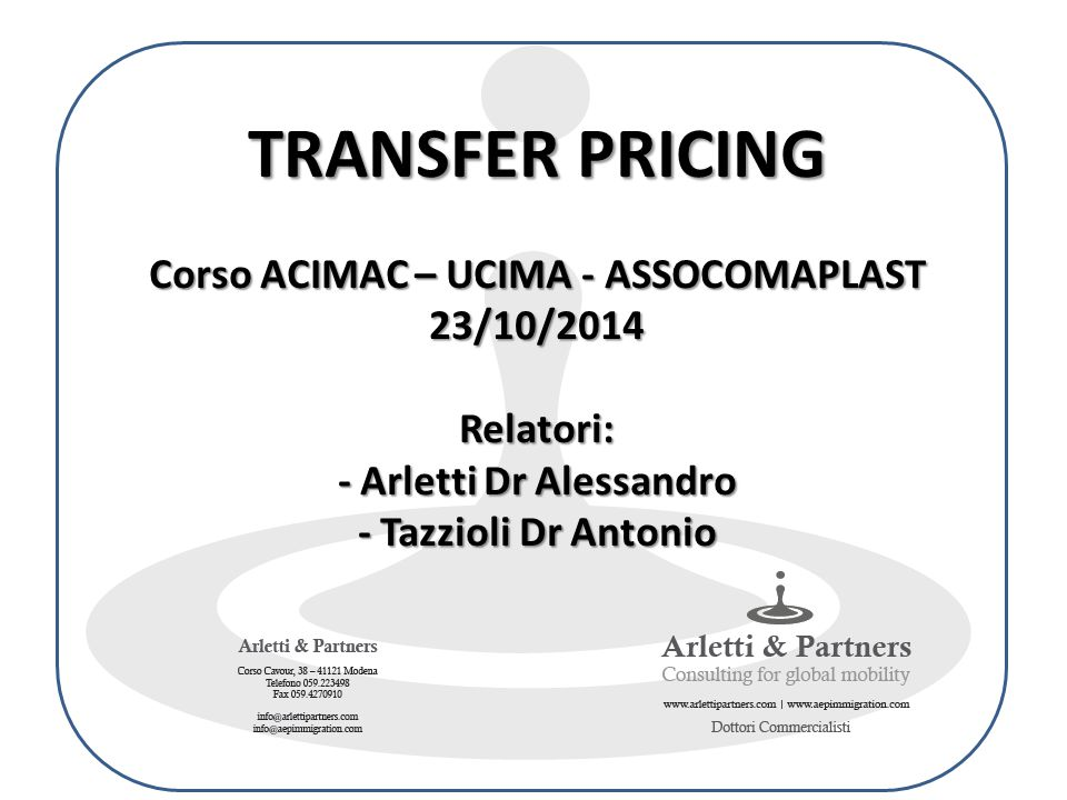 Capitolo V - Indice A.Introduction B.Guidance on documentation rules and procedures C.Useful information for determining transfer pricing D.Summary on recommendation on Documentation Studio Arletti & Partners OECD – TRANSFER PRICING GUIDELINES