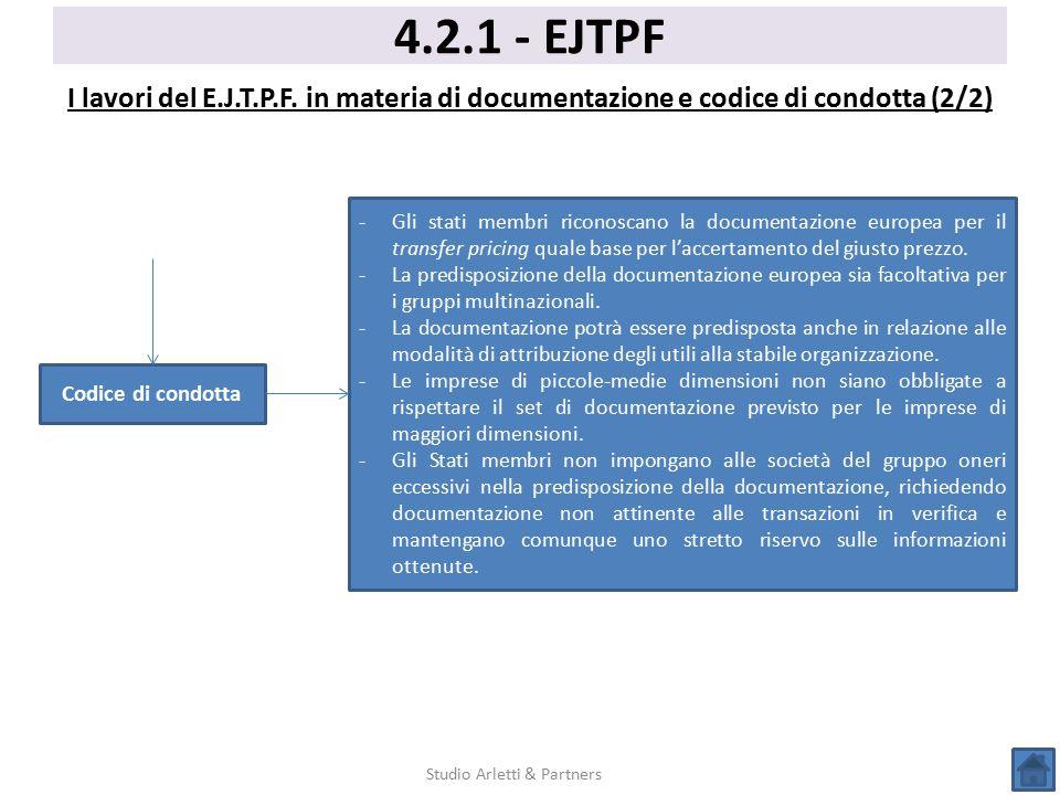 4.2.1 - EJTPF I lavori del E.J.T.P.F. in materia di documentazione e codice di condotta (2/2) Studio Arletti & Partners Codice di condotta -Gli stati