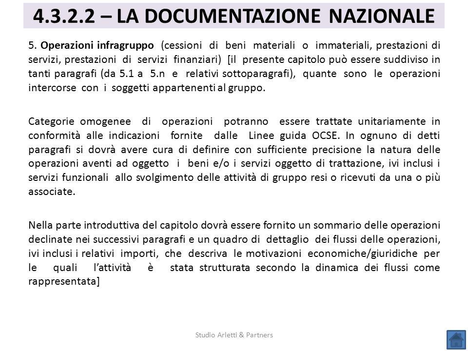 5. Operazioni infragruppo (cessioni di beni materiali o immateriali, prestazioni di servizi, prestazioni di servizi finanziari) [il presente capitolo