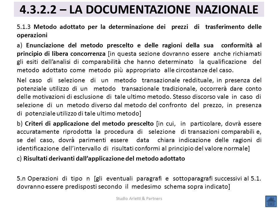 5.1.3 Metodo adottato per la determinazione dei prezzi di trasferimento delle operazioni a) Enunciazione del metodo prescelto e delle ragioni della su