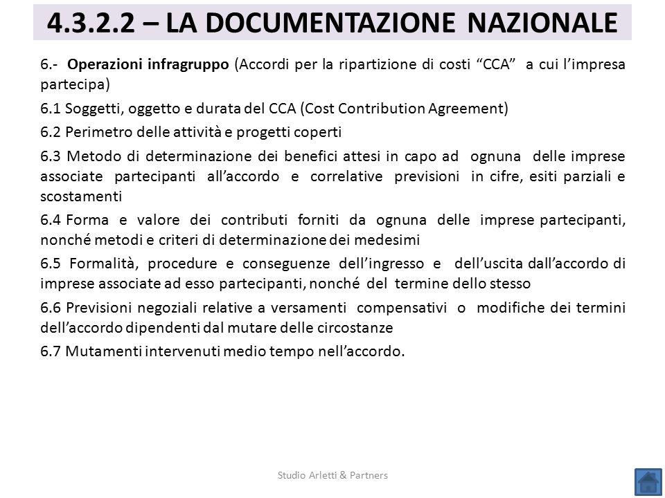 """6.- Operazioni infragruppo (Accordi per la ripartizione di costi """"CCA"""" a cui l'impresa partecipa) 6.1 Soggetti, oggetto e durata del CCA (Cost Contrib"""