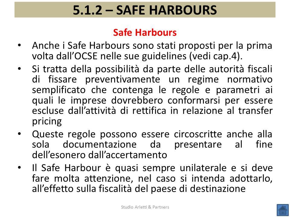 Studio Arletti & Partners 5.1.2 – SAFE HARBOURS Safe Harbours Anche i Safe Harbours sono stati proposti per la prima volta dall'OCSE nelle sue guideli