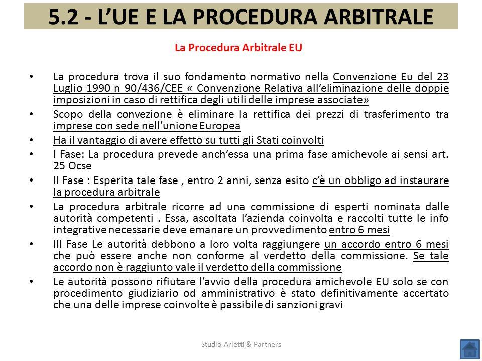 Studio Arletti & Partners 5.2 - L'UE E LA PROCEDURA ARBITRALE La Procedura Arbitrale EU La procedura trova il suo fondamento normativo nella Convenzio