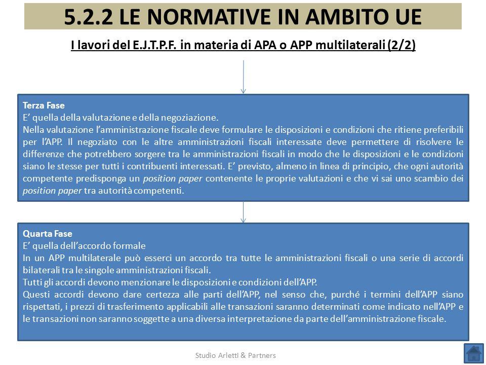 5.2.2 LE NORMATIVE IN AMBITO UE I lavori del E.J.T.P.F. in materia di APA o APP multilaterali (2/2) Studio Arletti & Partners Terza Fase E' quella del