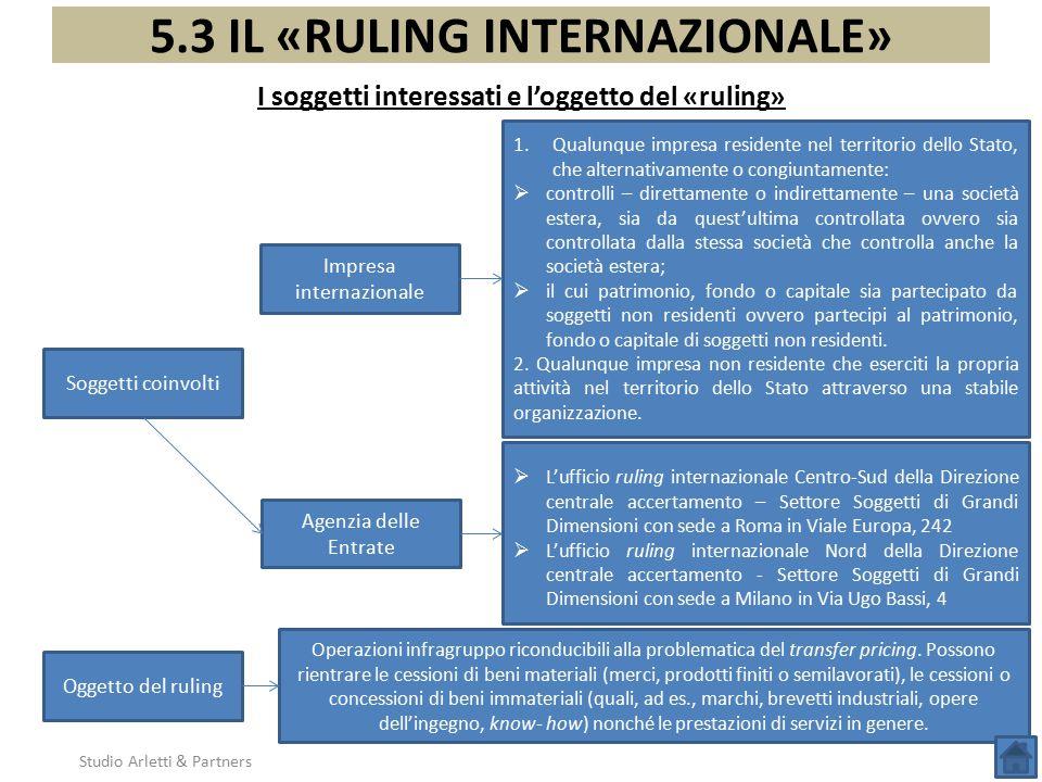 5.3 IL «RULING INTERNAZIONALE» I soggetti interessati e l'oggetto del «ruling» Soggetti coinvolti 1.Qualunque impresa residente nel territorio dello S