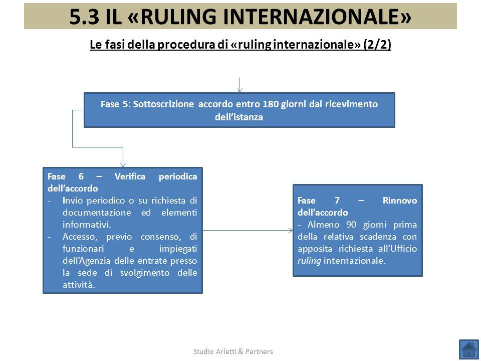 5.3 IL «RULING INTERNAZIONALE» Le fasi della procedura di «ruling internazionale» (2/2) Studio Arletti & Partners Fase 5: Sottoscrizione accordo entro