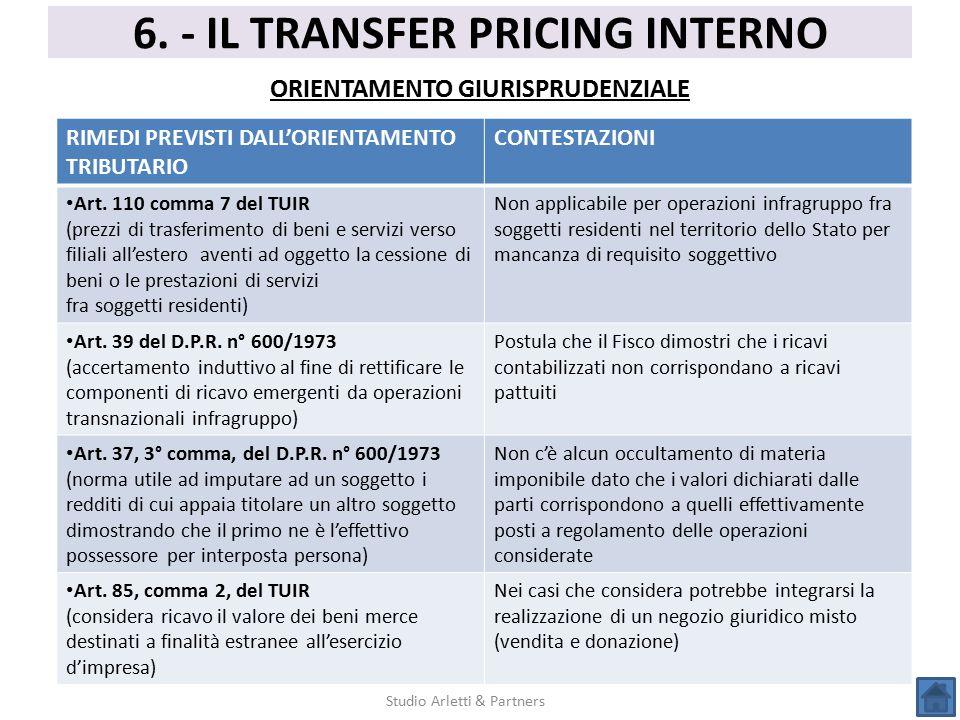 6. - IL TRANSFER PRICING INTERNO ORIENTAMENTO GIURISPRUDENZIALE Studio Arletti & Partners RIMEDI PREVISTI DALL'ORIENTAMENTO TRIBUTARIO CONTESTAZIONI A