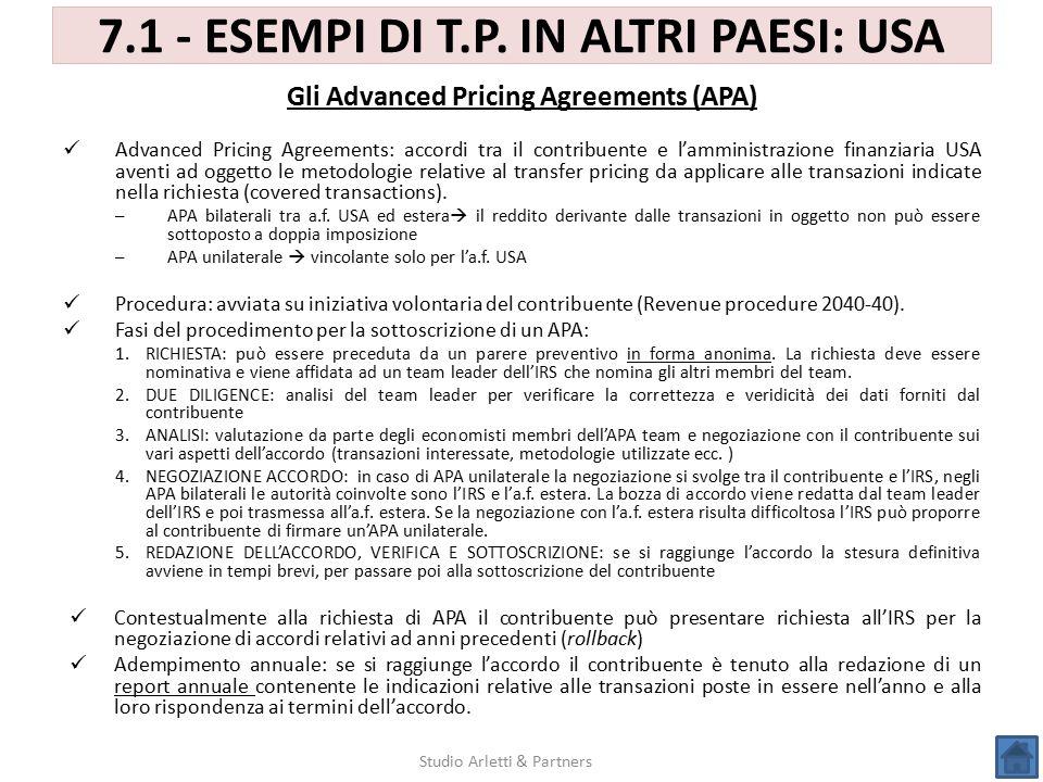 7.1 - ESEMPI DI T.P. IN ALTRI PAESI: USA Studio Arletti & Partners Advanced Pricing Agreements: accordi tra il contribuente e l'amministrazione finanz