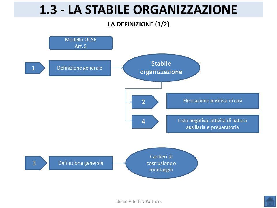 Studio Arletti & Partners 1.3 - LA STABILE ORGANIZZAZIONE LA DEFINIZIONE (1/2) Modello OCSE Art. 5 1 Definizione generale Stabile organizzazione 2 4 E