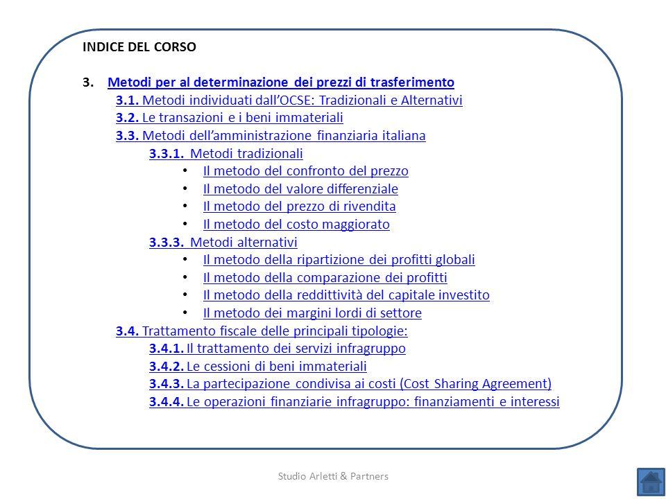 Studio Arletti & Partners INDICE DEL CORSO 3.Metodi per al determinazione dei prezzi di trasferimentoMetodi per al determinazione dei prezzi di trasfe