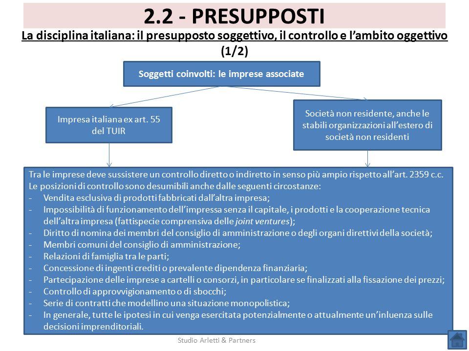 Studio Arletti & Partners 2.2 - PRESUPPOSTI La disciplina italiana: il presupposto soggettivo, il controllo e l'ambito oggettivo (1/2) Soggetti coinvo