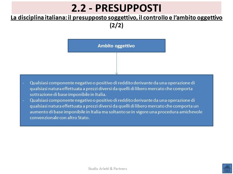 Studio Arletti & Partners 2.2 - PRESUPPOSTI La disciplina italiana: il presupposto soggettivo, il controllo e l'ambito oggettivo (2/2) Ambito oggettiv