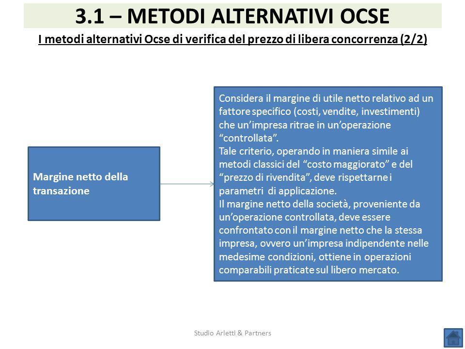 Studio Arletti & Partners 3.1 – METODI ALTERNATIVI OCSE I metodi alternativi Ocse di verifica del prezzo di libera concorrenza (2/2) Margine netto del