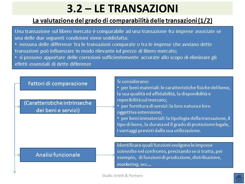 Studio Arletti & Partners 3.2 – LE TRANSAZIONI La valutazione del grado di comparabilità delle transazioni (1/2) Una transazione sul libero mercato è