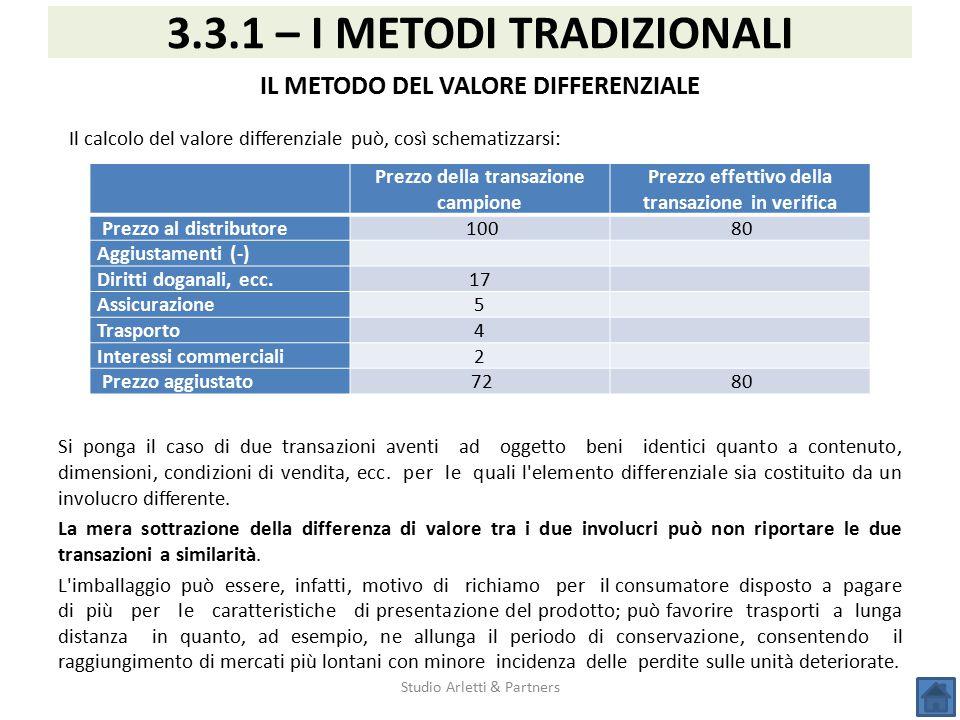 Il calcolo del valore differenziale può, così schematizzarsi: Si ponga il caso di due transazioni aventi ad oggetto beni identici quanto a contenuto,