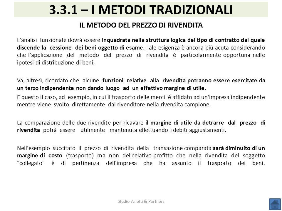 Studio Arletti & Partners 3.3.1 – I METODI TRADIZIONALI IL METODO DEL PREZZO DI RIVENDITA L'analisi funzionale dovrà essere inquadrata nella struttura