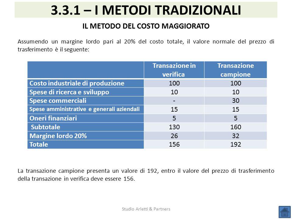 Studio Arletti & Partners 3.3.1 – I METODI TRADIZIONALI IL METODO DEL COSTO MAGGIORATO Assumendo un margine lordo pari al 20% del costo totale, il val