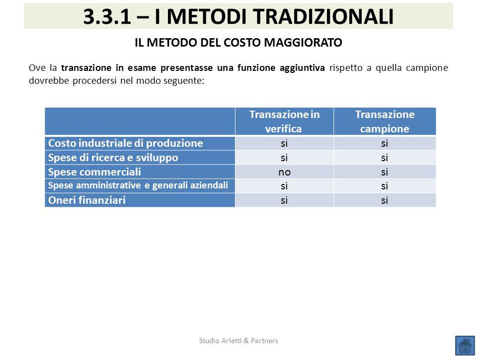 Studio Arletti & Partners 3.3.1 – I METODI TRADIZIONALI IL METODO DEL COSTO MAGGIORATO Ove la transazione in esame presentasse una funzione aggiuntiva