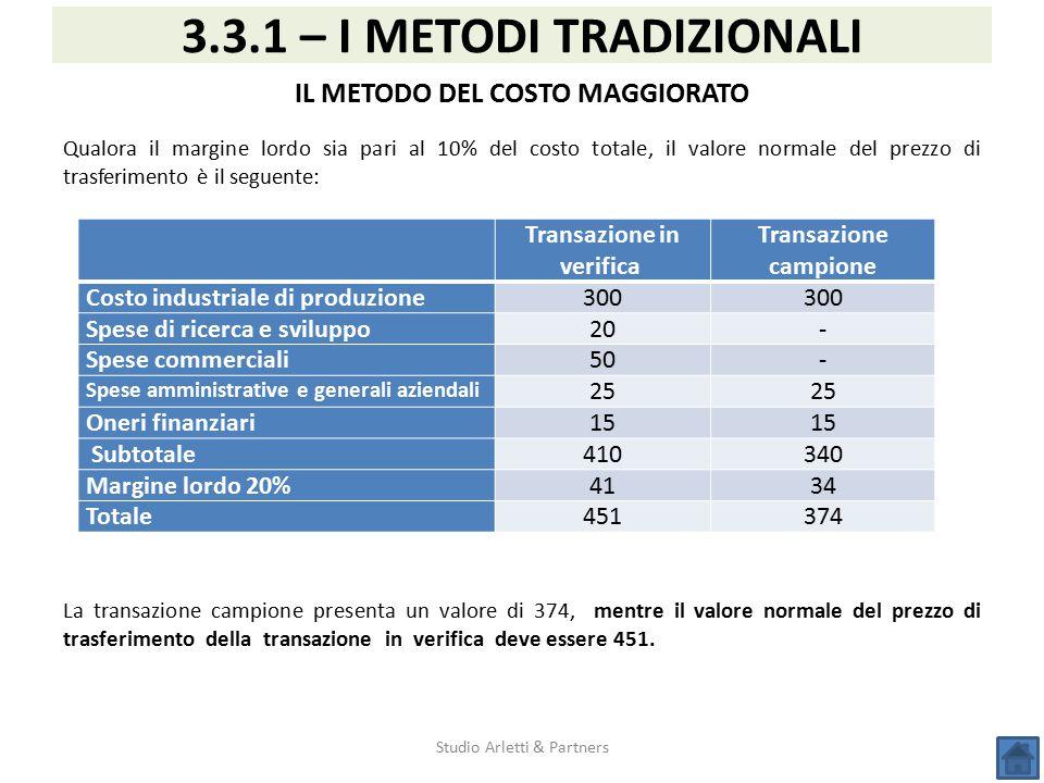 Studio Arletti & Partners 3.3.1 – I METODI TRADIZIONALI IL METODO DEL COSTO MAGGIORATO Qualora il margine lordo sia pari al 10% del costo totale, il v