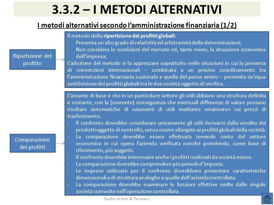 Studio Arletti & Partners 3.3.2 – I METODI ALTERNATIVI I metodi alternativi secondo l'amministrazione finanziaria (1/2) Ripartizione del profitto Il m