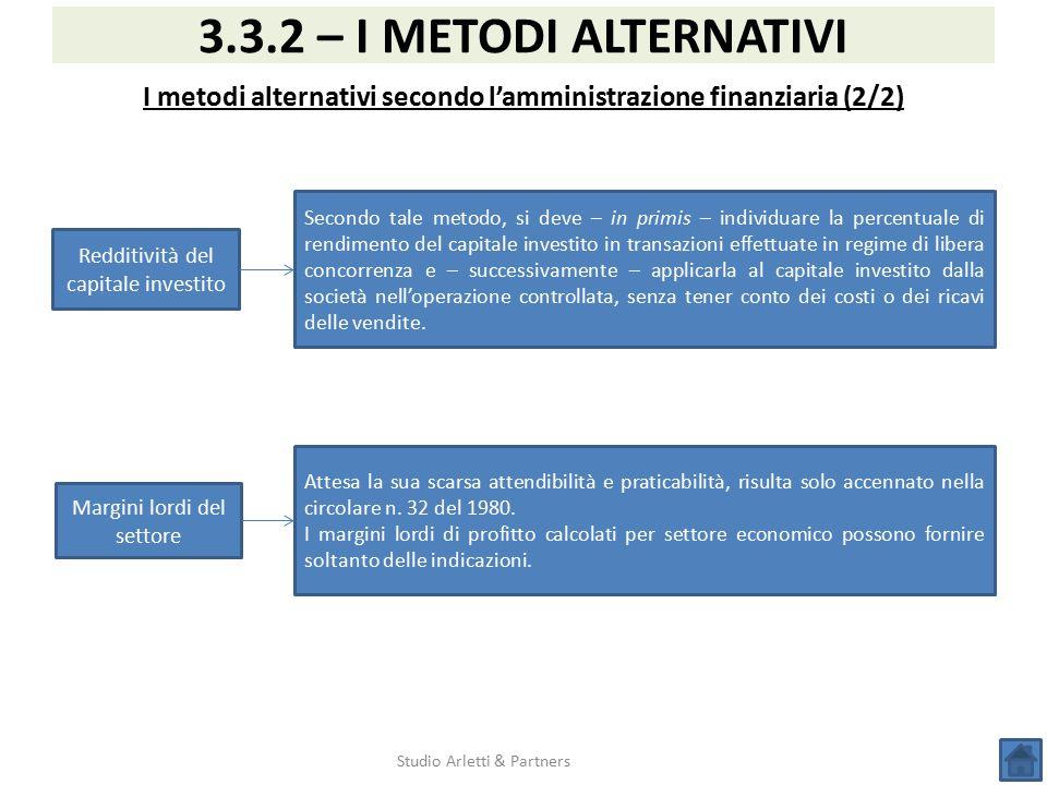 Studio Arletti & Partners 3.3.2 – I METODI ALTERNATIVI I metodi alternativi secondo l'amministrazione finanziaria (2/2) Redditività del capitale inves