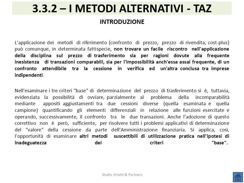 Studio Arletti & Partners 3.3.2 – I METODI ALTERNATIVI - TAZ INTRODUZIONE L'applicazione dei metodi di riferimento (confronto di prezzo, prezzo di riv