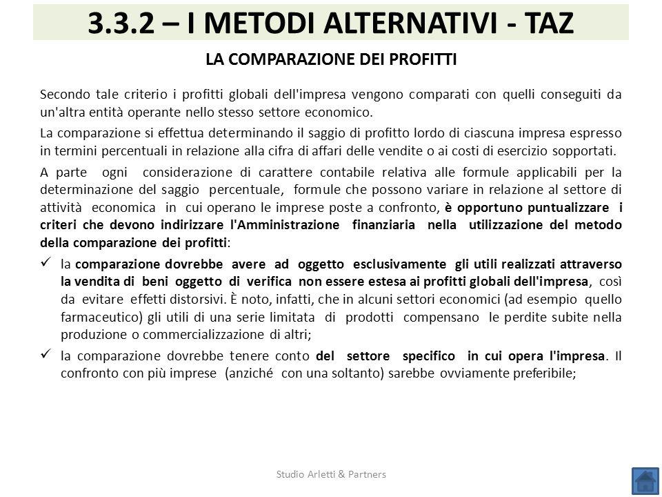 Studio Arletti & Partners 3.3.2 – I METODI ALTERNATIVI - TAZ LA COMPARAZIONE DEI PROFITTI Secondo tale criterio i profitti globali dell'impresa vengon