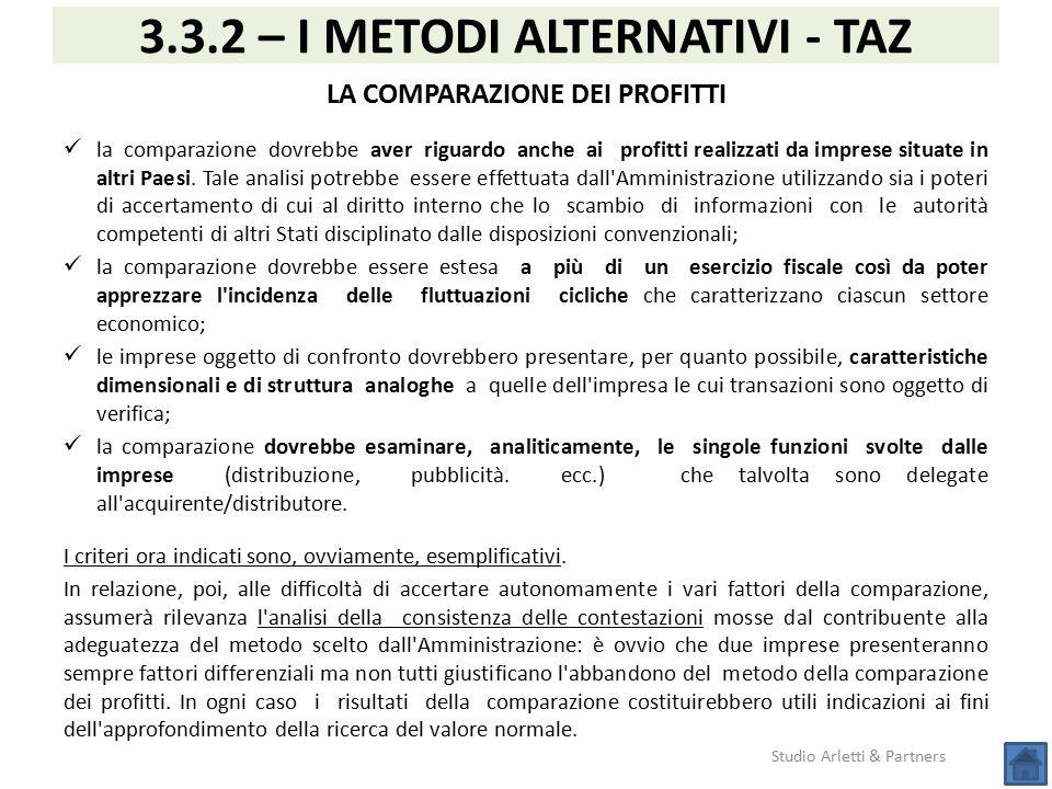 Studio Arletti & Partners 3.3.2 – I METODI ALTERNATIVI - TAZ LA COMPARAZIONE DEI PROFITTI la comparazione dovrebbe aver riguardo anche ai profitti rea