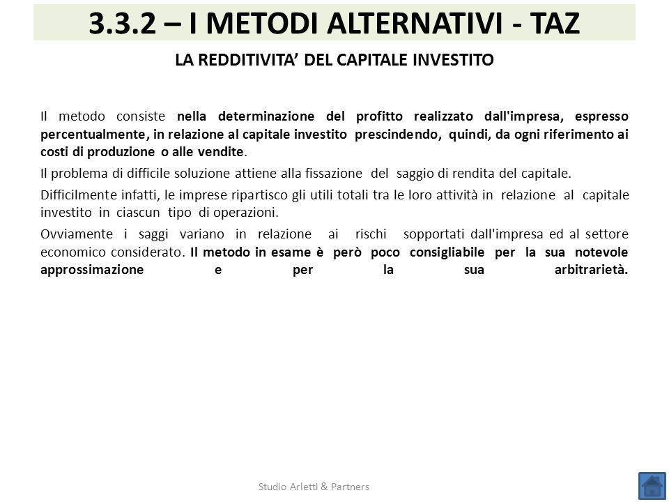 Studio Arletti & Partners 3.3.2 – I METODI ALTERNATIVI - TAZ LA REDDITIVITA' DEL CAPITALE INVESTITO Il metodo consiste nella determinazione del profit
