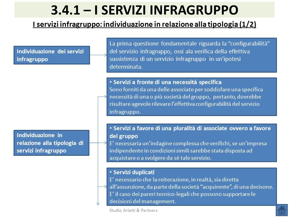 Studio Arletti & Partners 3.4.1 – I SERVIZI INFRAGRUPPO I servizi infragruppo: individuazione in relazione alla tipologia (1/2) Individuazione dei ser