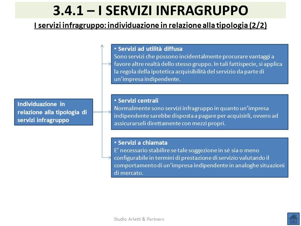 Studio Arletti & Partners 3.4.1 – I SERVIZI INFRAGRUPPO I servizi infragruppo: individuazione in relazione alla tipologia (2/2) Individuazione in rela