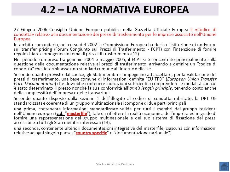 27 Giugno 2006 Consiglio Unione Europea pubblica nella Gazzetta Ufficiale Europea il «Codice di condotta» relativo alla documentazione dei prezzi di t
