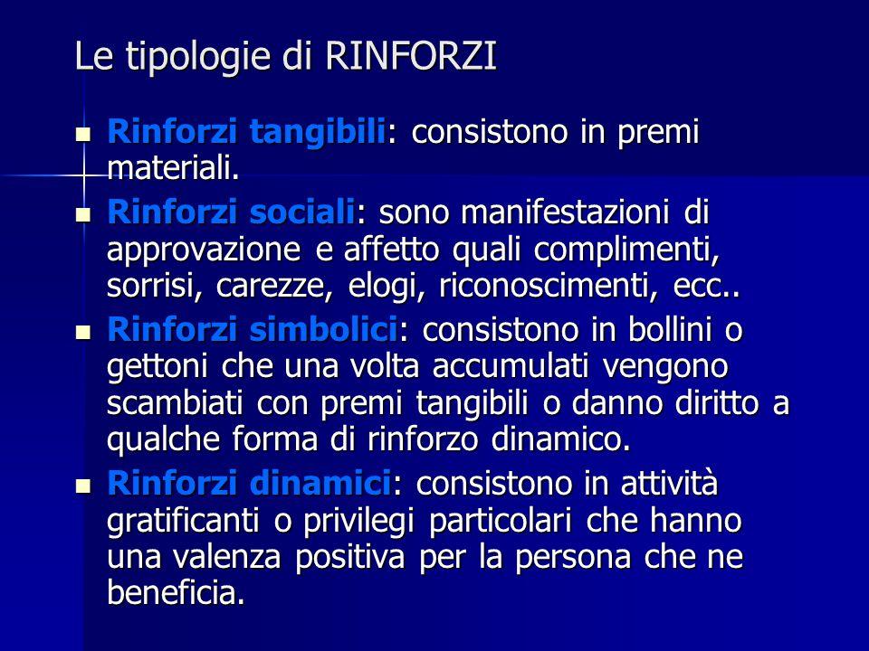Le tipologie di RINFORZI Rinforzi tangibili: consistono in premi materiali. Rinforzi tangibili: consistono in premi materiali. Rinforzi sociali: sono