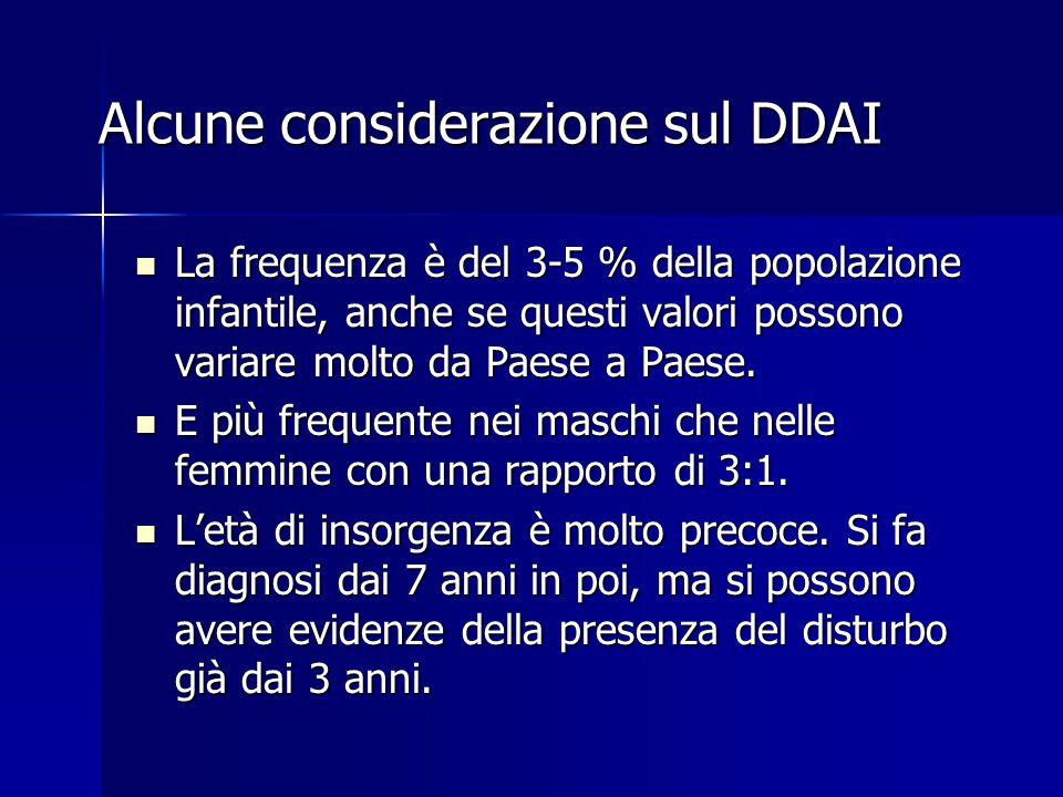 Alcune considerazione sul DDAI La frequenza è del 3-5 % della popolazione infantile, anche se questi valori possono variare molto da Paese a Paese. La