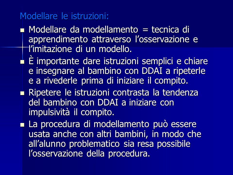 Modellare le istruzioni: Modellare da modellamento = tecnica di apprendimento attraverso l'osservazione e l'imitazione di un modello. Modellare da mod