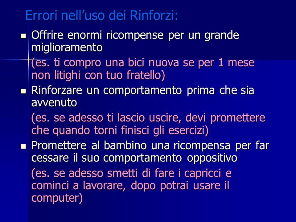 Errori nell'uso dei Rinforzi: Offrire enormi ricompense per un grande miglioramento Offrire enormi ricompense per un grande miglioramento (es. ti comp