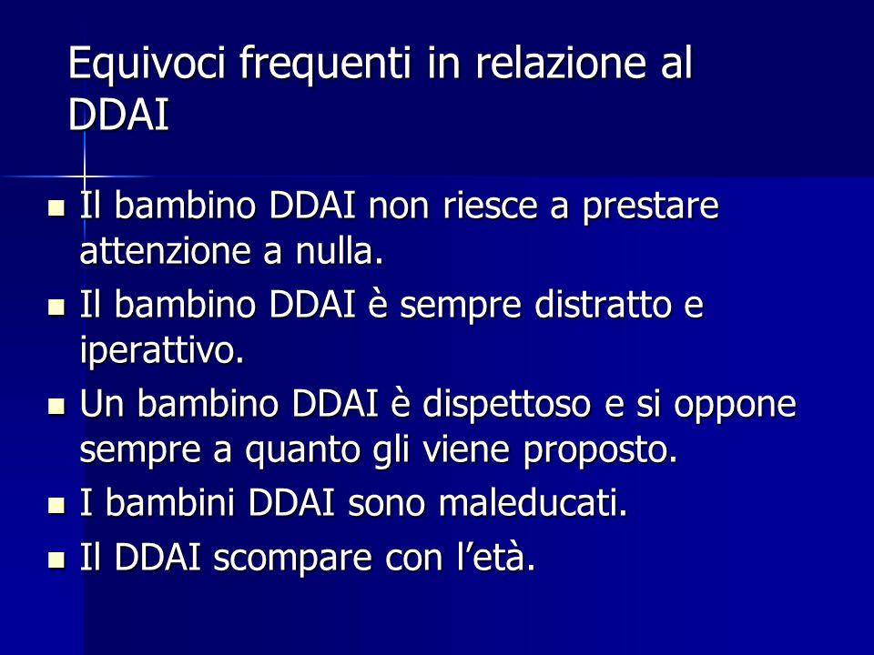 Equivoci frequenti in relazione al DDAI Il bambino DDAI non riesce a prestare attenzione a nulla.