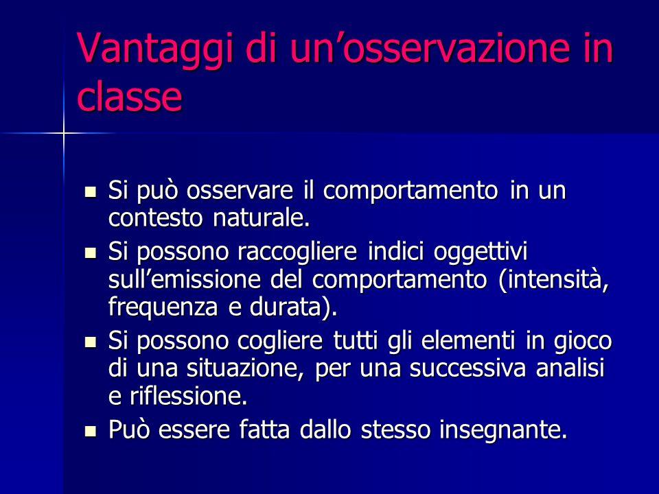 Vantaggi di un'osservazione in classe Si può osservare il comportamento in un contesto naturale.