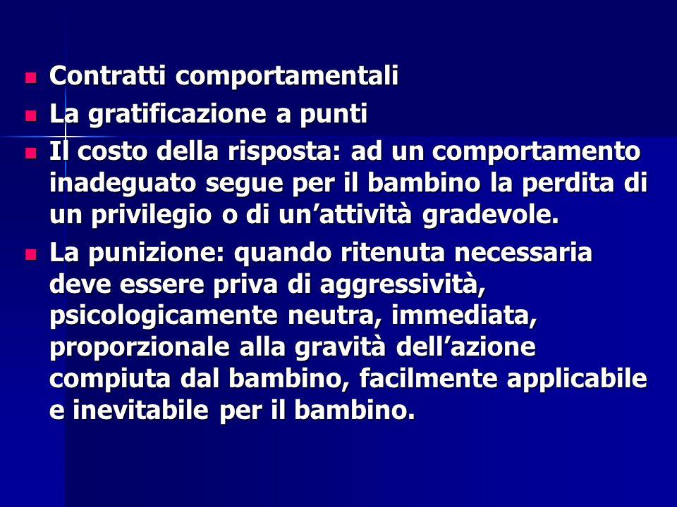 Contratti comportamentali Contratti comportamentali La gratificazione a punti La gratificazione a punti Il costo della risposta: ad un comportamento i
