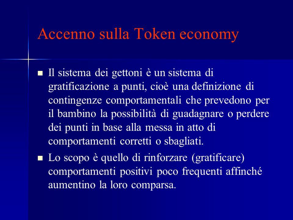 Accenno sulla Token economy Il sistema dei gettoni è un sistema di gratificazione a punti, cioè una definizione di contingenze comportamentali che pre