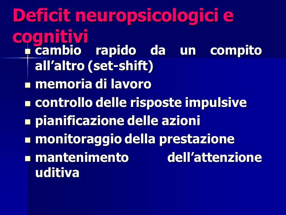 Deficit neuropsicologici e cognitivi cambio rapido da un compito all'altro (set-shift) cambio rapido da un compito all'altro (set-shift) memoria di la