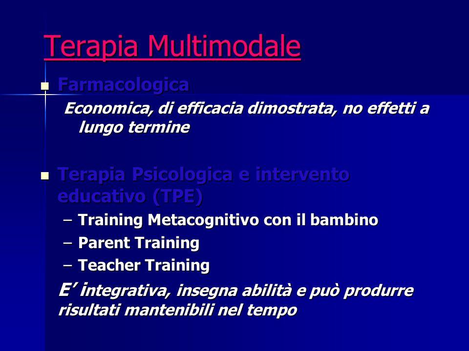 Terapia Multimodale Farmacologica Farmacologica Economica, di efficacia dimostrata, no effetti a lungo termine Terapia Psicologica e intervento educat